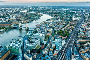 Aerial view of London and Tower Bridge